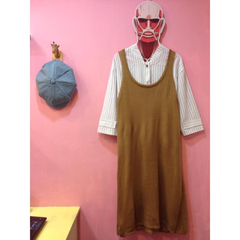 彩色櫥窗zipper vintage 非 planet kouzou 好感焦糖色針織背心裙