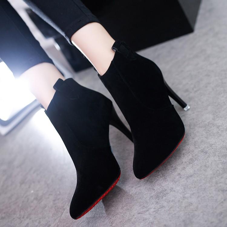 絨面細跟短靴英倫尖頭磨砂高跟裸靴加絨后拉鏈百搭 馬丁靴