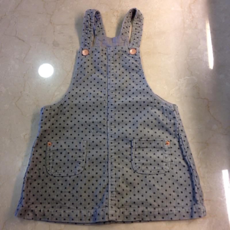 Zara baby 灰底黑色星星吊帶裙(18 24m )