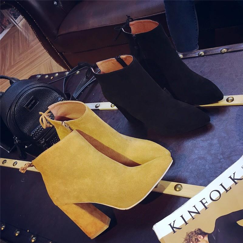 英倫SW 側拉鍊真皮短靴尖頭高跟馬丁靴磨砂粗跟女復古及裸靴子