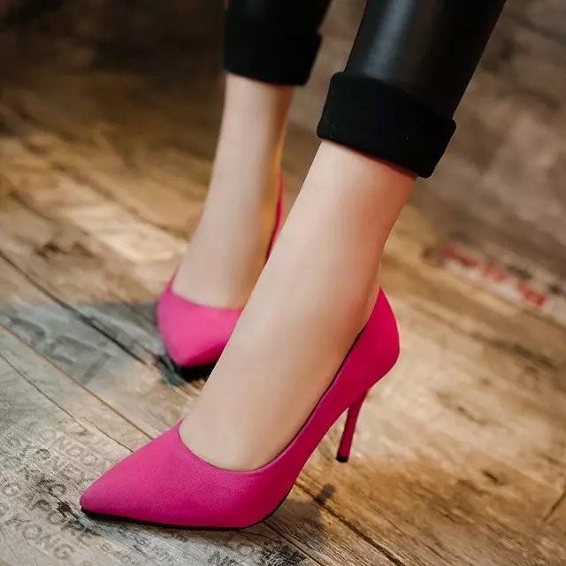 春 女鞋裸色高跟鞋細跟尖頭淺口性感單鞋婚鞋反絨工作鞋