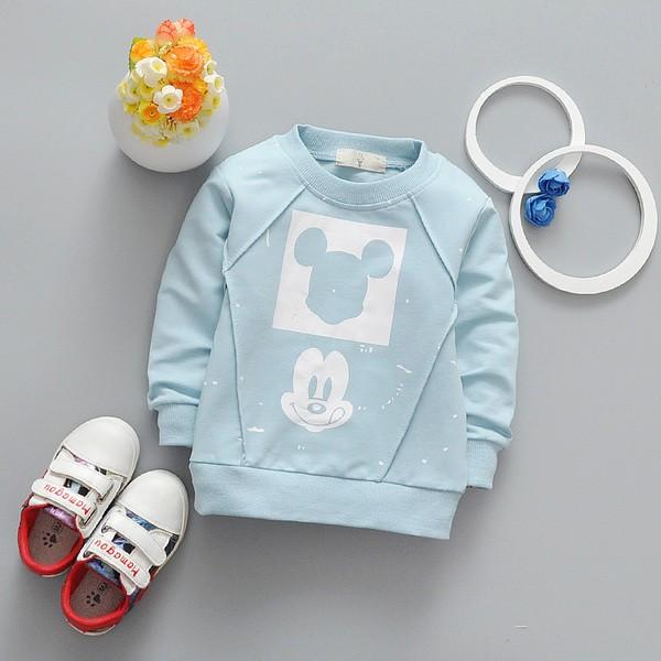 棉質T 恤春裝秋裝!!嬰幼兒男童女童兒童春 棉質T 恤方塊潑漆米奇長袖上衣T 恤