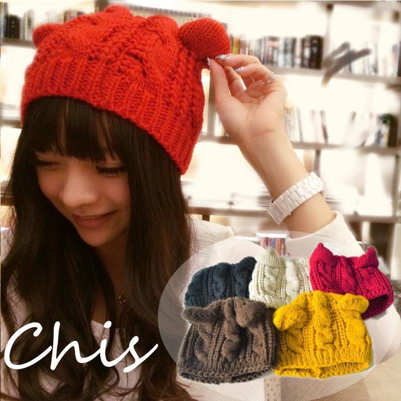 Chis Store ~ 新品~可愛俏皮貓耳朵 粗毛線針織麻花編繩毛帽毛線帽貝雷帽可搭外套