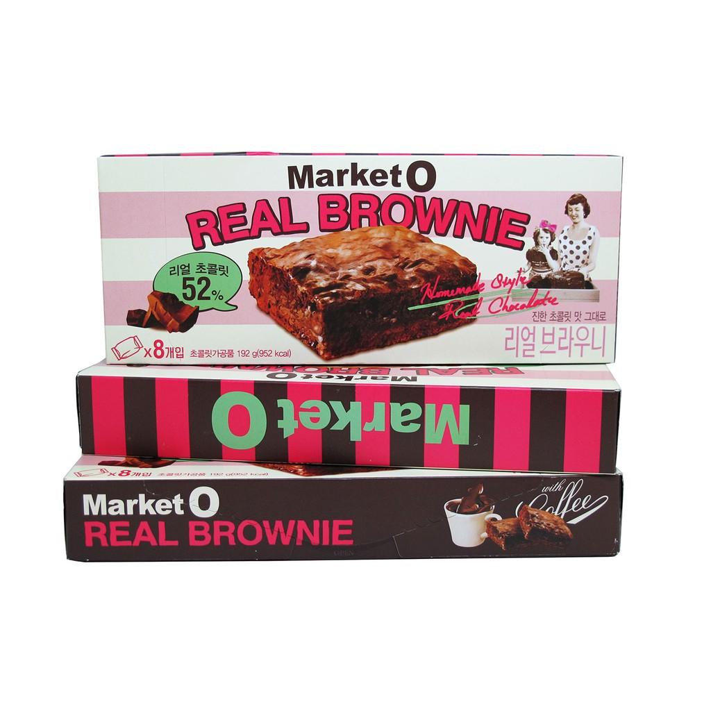 ~京極瓔珞喵~ 韓國Market O 巧克力布朗尼蛋糕甜點192g 8 塊入原味伴手禮
