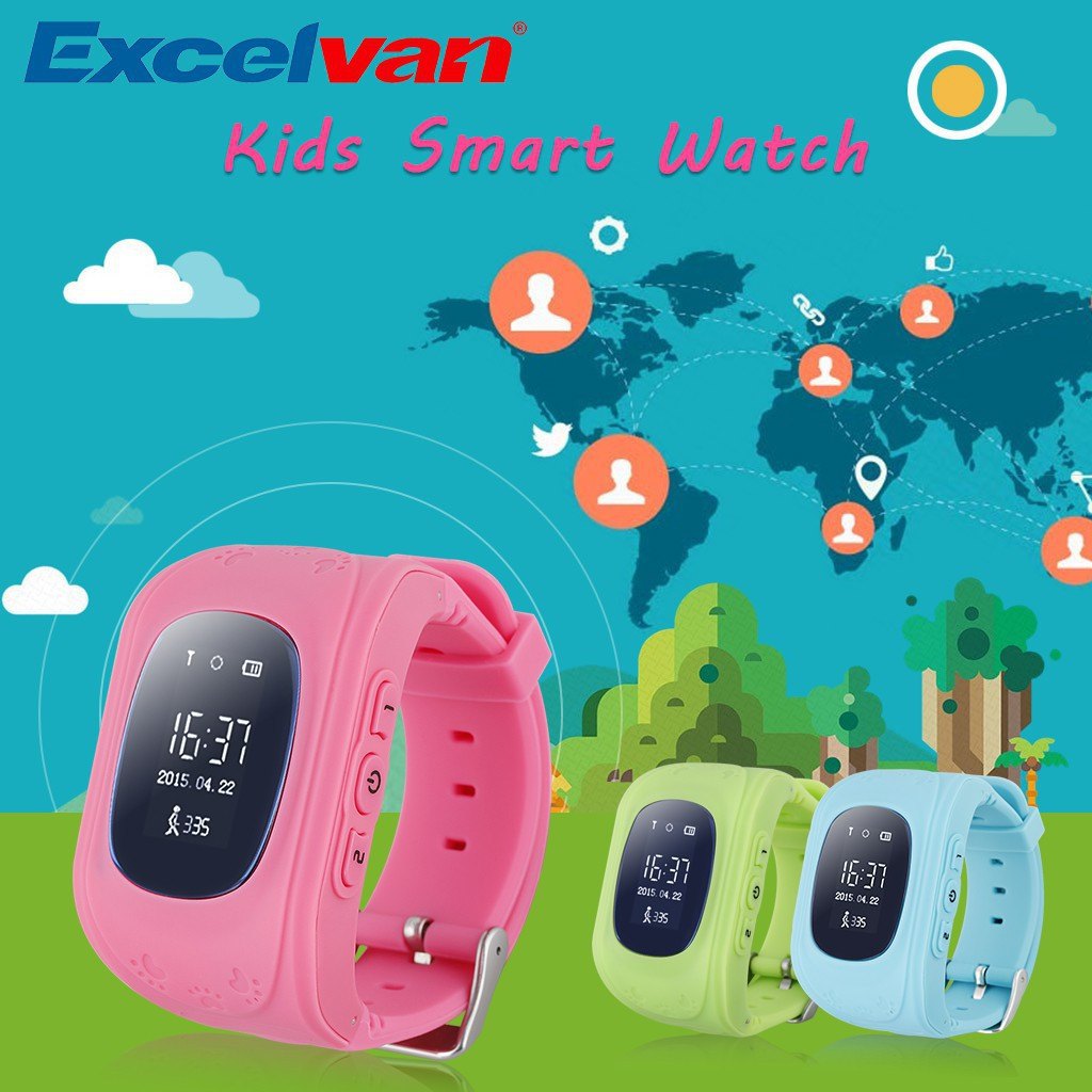 Excelvan 兒童智慧手錶GPS 2G 網絡Android ios