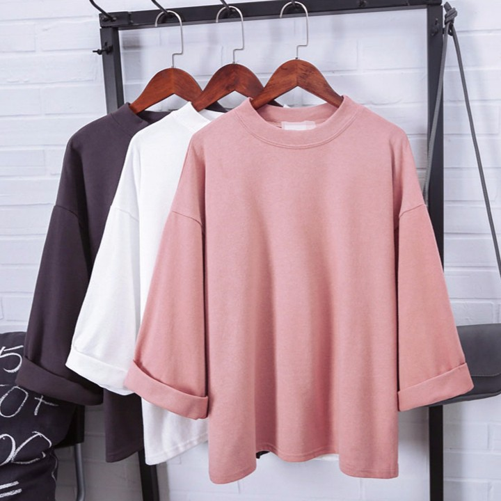 ✔ 特惠✔3 色短袖百搭素面寬鬆棉質大學T 閨蜜上衣