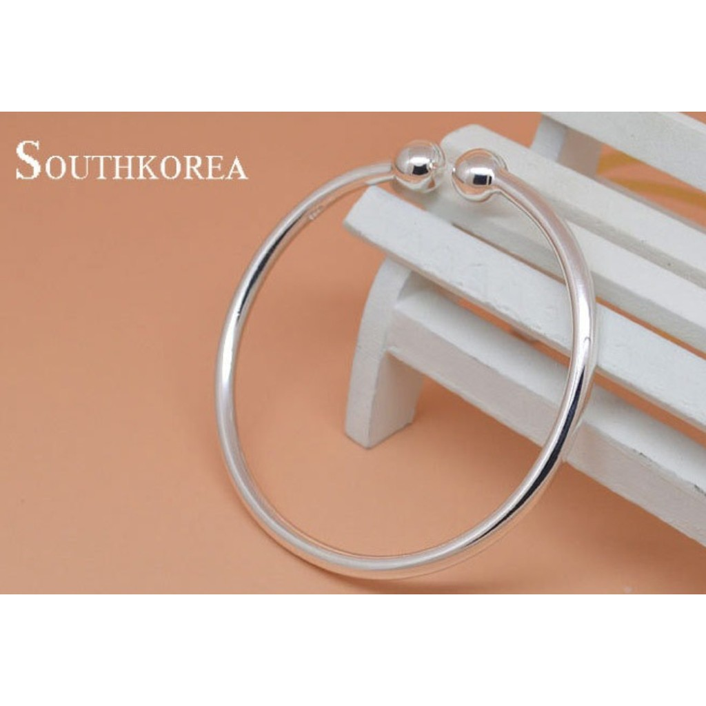簡約光面蒜頭圓頭鍍925 純銀手鐲手環