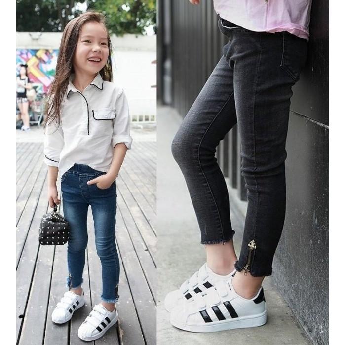 ╭~°雯雯童舖~°╯A002 女童 拉鍊修身牛仔褲