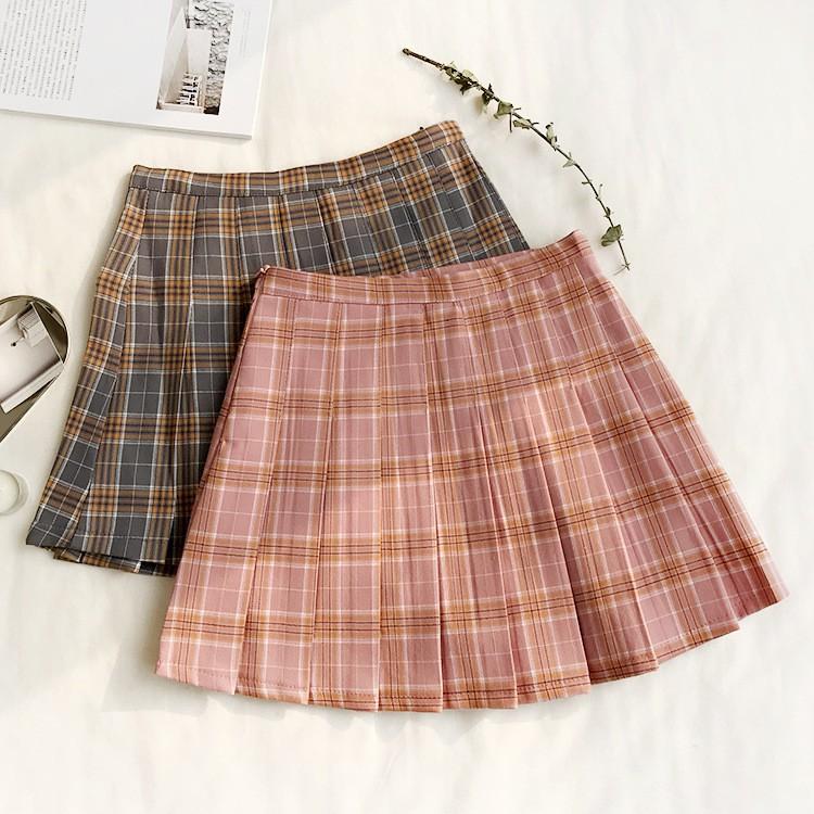 帶安全褲韓國原單春款格子半身裙百褶裙 高腰A 字短裙