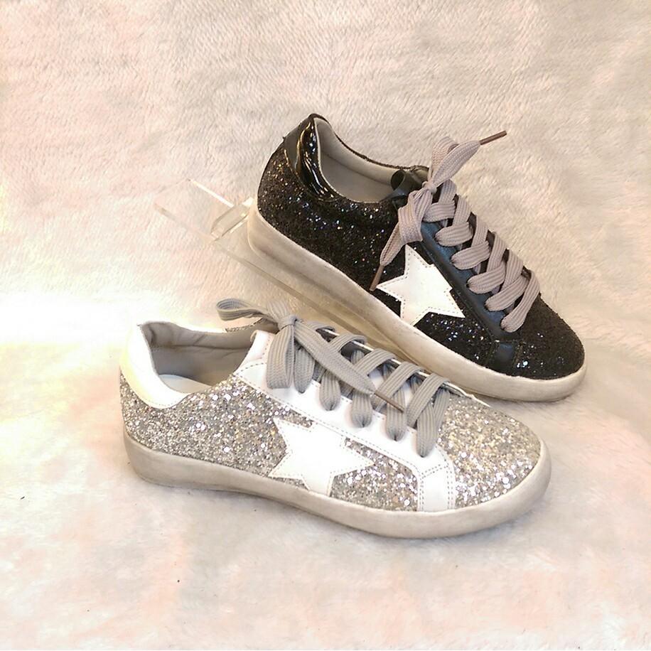 星星亮片板鞋 潮流仿舊復古休閒鞋黑色銀色