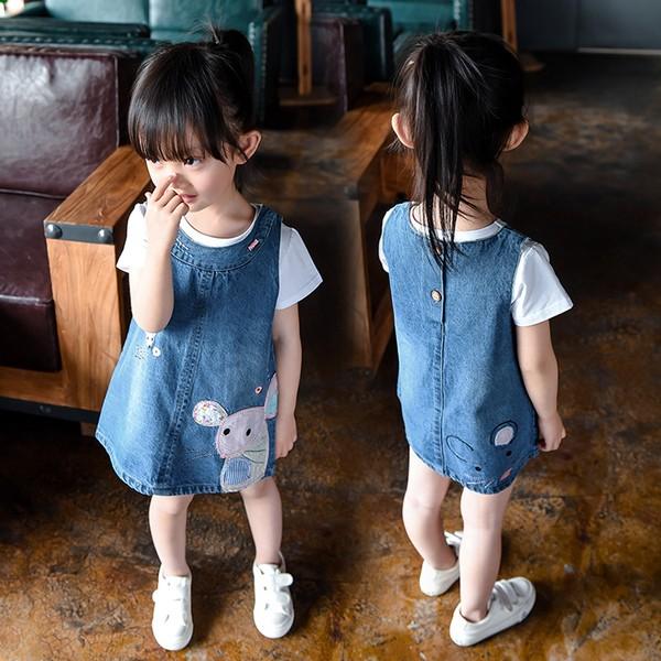 女童連衣裙春裝2016 夏兒童夏裝牛仔背帶裙寶寶 小女孩裙子