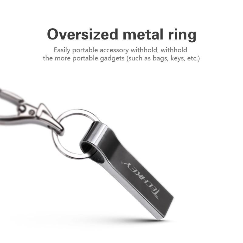 防水金屬銀色USB 隨身碟64GB 隨身晶32GBpendrive 帶鑰匙扣U 盤記憶棒記