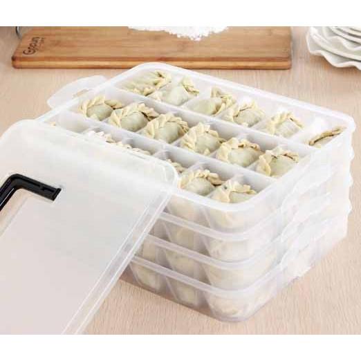 加厚餃子盒冰箱保鮮水餃收纳盒手提分格密封盒二層三層四層