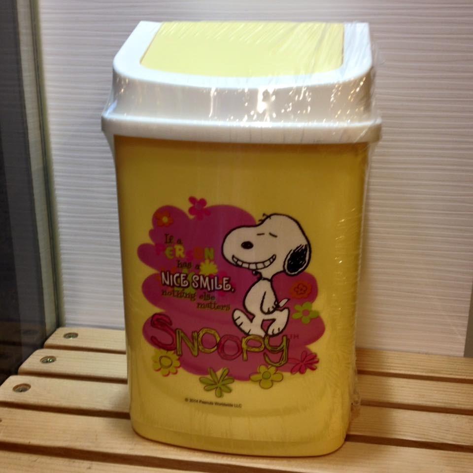 阿虎會社~A 732 ~史努比 史努比史奴比snoopy 方型垃圾桶置物筒桌上型車用黃 製