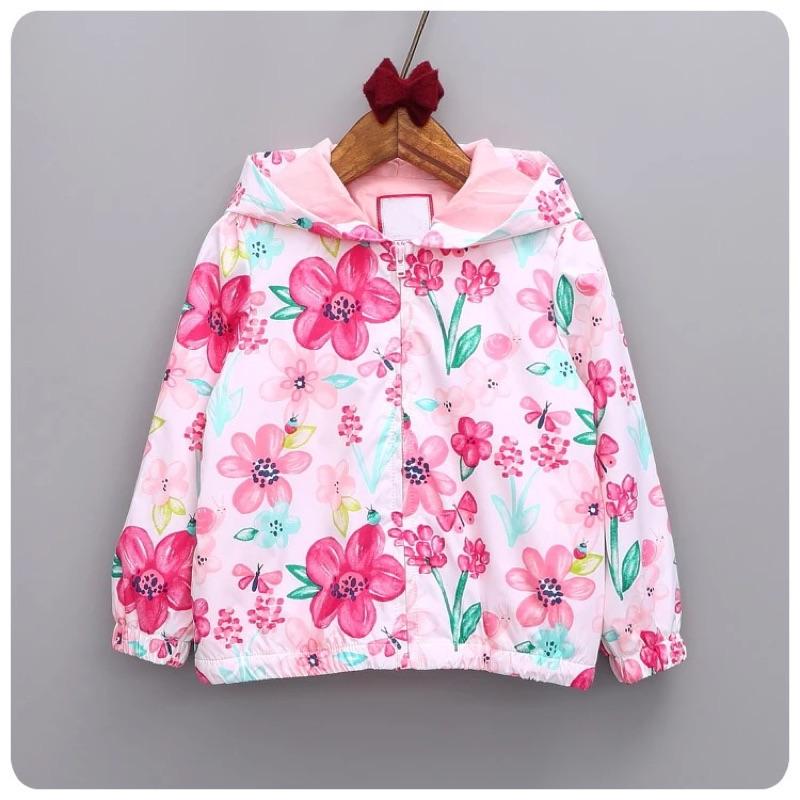 實拍✨花朵圖案女童防風遮陽外套