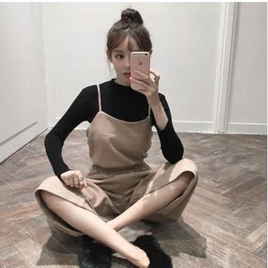 ~超 ~2017  女裝小香風毛呢吊帶兩件套闊腿褲套裝秋裝 潮