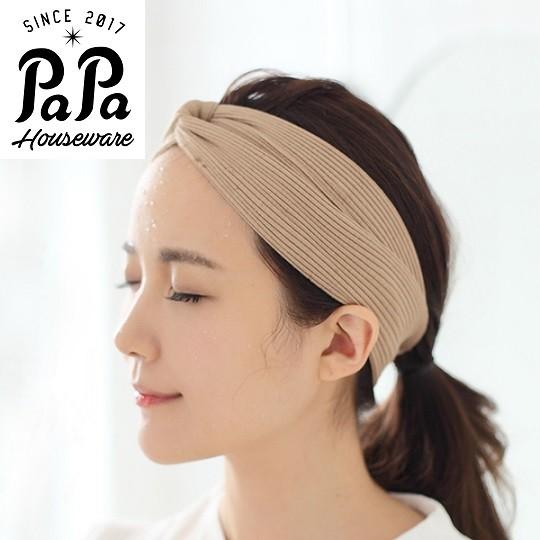 PaPa 家居韓國針織彈力束發帶浴室洗臉化妝發飾 發箍頭巾