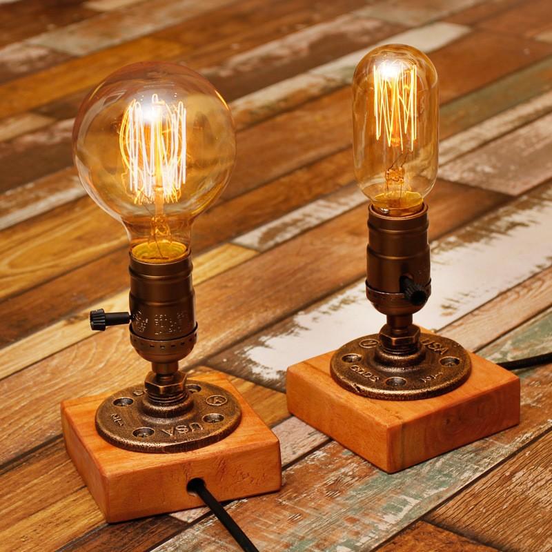 復古工業風臺燈Loft 破銅爛鐵古早小夜燈檯燈桌燈愛迪生工業複古水管燈咖啡廳裝飾 台燈