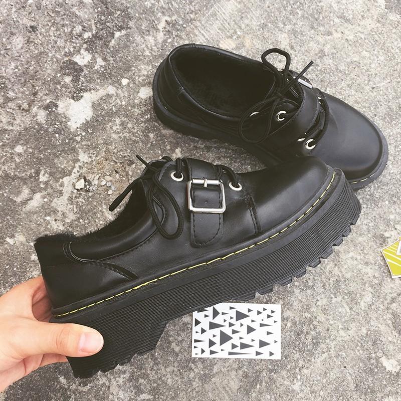 日系圓頭小皮鞋大頭鞋顯瘦百搭加絨單鞋厚底學生松糕鞋女學院~SJ0024 ~AJSHOP