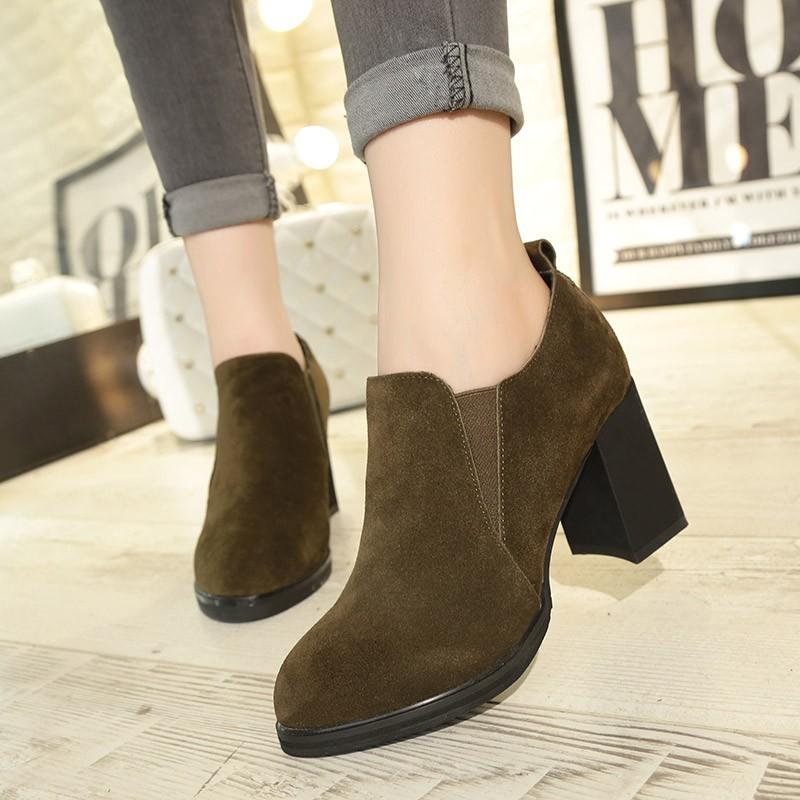 女鞋 有 秋款復古反絨英倫短筒靴女圓頭粗跟中跟短靴女士 馬丁靴女靴子