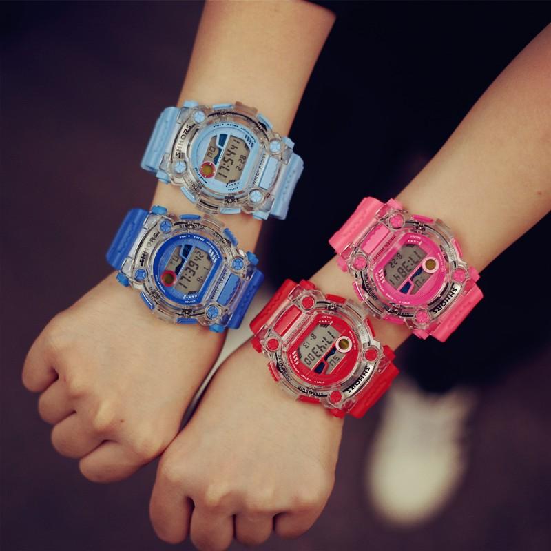 日系 學院風原宿復古透明夜光 電子錶男女橡膠情侶手錶