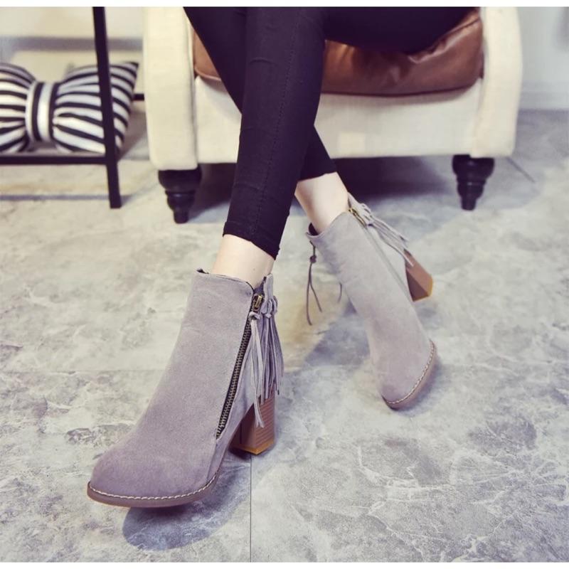 S53 流蘇馬丁靴磨砂皮粗跟高跟短筒短靴