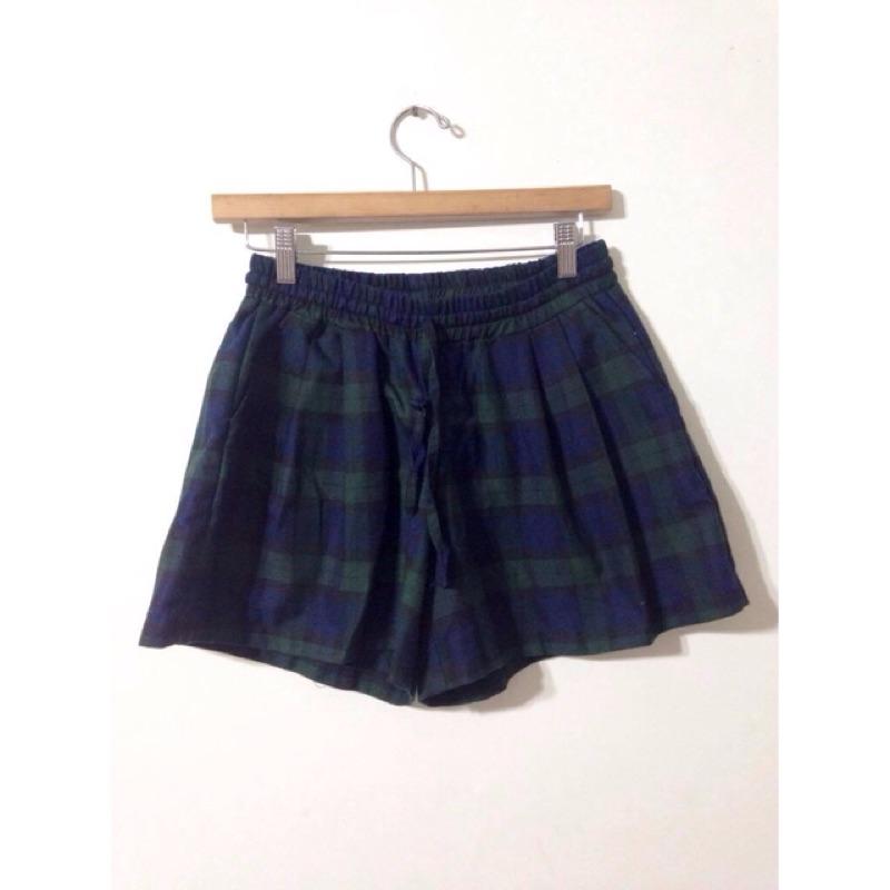 蘇格蘭格紋藍綠色鬆緊短褲裙planet paishop