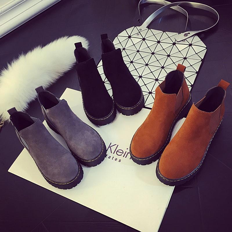 2016 秋 英倫風馬丁靴圓頭厚底磨砂皮短靴及裸靴平底女靴子