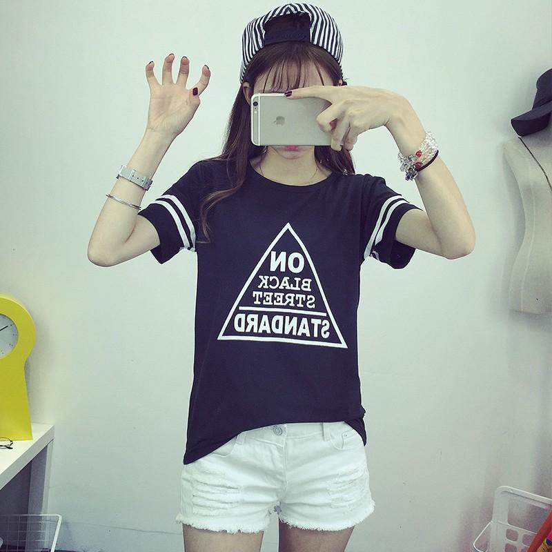 正韓卡通印花短袖T 恤女打底衫姐妹閨蜜裝棒球風圓領體恤短袖體恤七分袖T 恤大 T 恤短版背