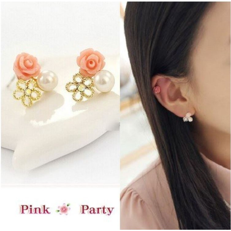 耳夾~Pink Party ❤╯EH089 韓國飾品清新可愛玫瑰花鏤空花朵珍珠夾式耳環耳夾
