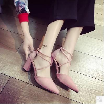 粗跟涼鞋女夏尖頭高跟鞋交叉綁帶簡約性感淺口女鞋潮