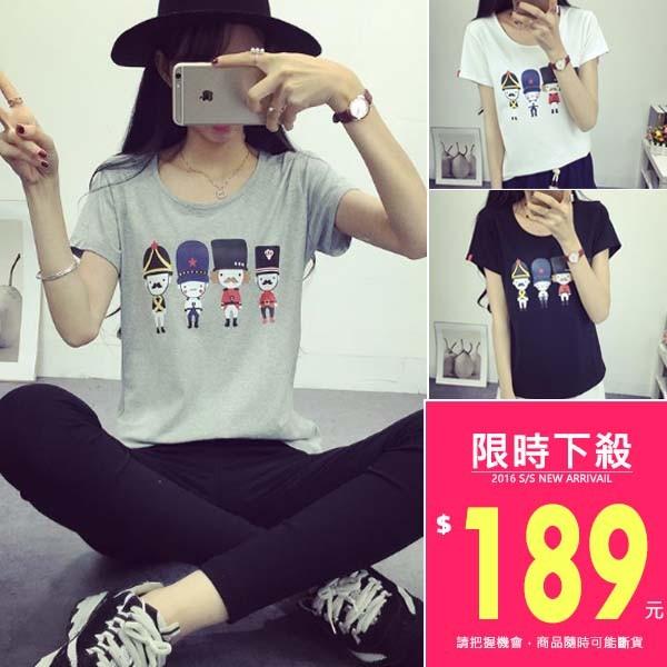 韓款卡通小人物短袖T 恤~TJA2545 ~TJSHOP