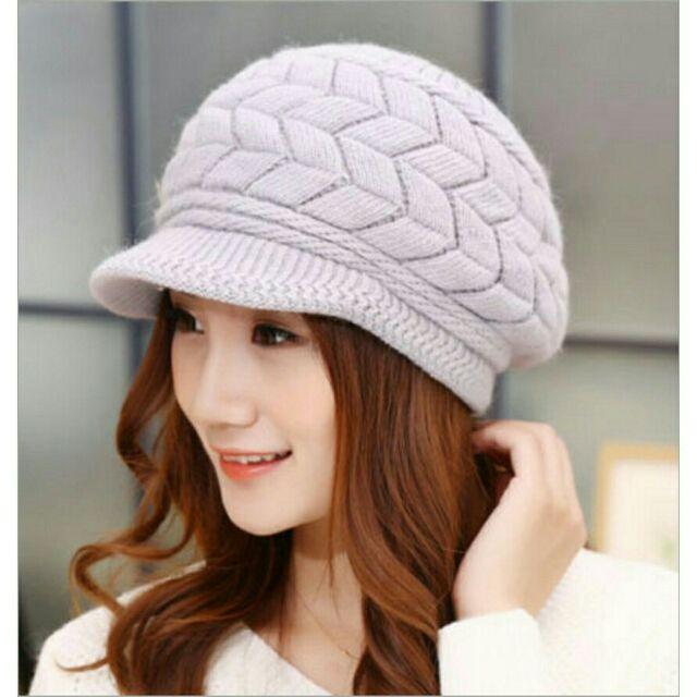 出貨8 色 針織鴨舌帽兔毛帽加厚雙層保暖護耳帽