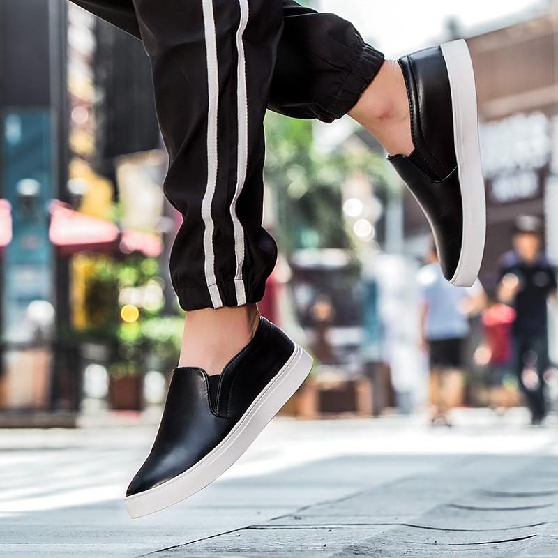 ~潮人街~ 樂福鞋男潮流 一腳蹬懶人蹬板鞋 皮鞋潮男鞋子情侶潮鞋