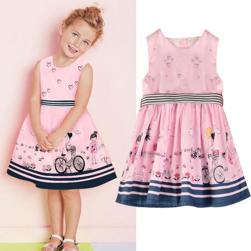 圓領無袖卡通印花甜美粉色洋裝