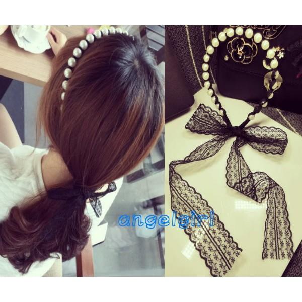 mama 小舖 髮飾珍珠頭箍蕾絲髮帶飾品水晶髮箍可愛甜美 大珍珠髮箍 飾品頭飾