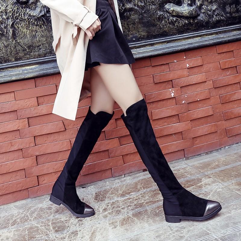 ❤❤❤2016 內增高加絨過膝長靴瘦腿彈力靴子女 過膝靴高筒靴長筒靴