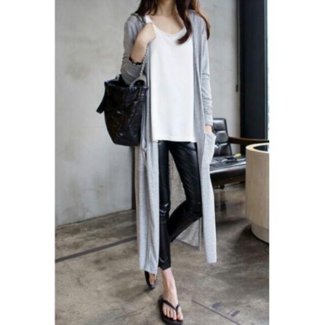 長款莫代爾口袋外套罩衫口袋冷氣衫薄長袖長版防曬空調素色百搭一件190 元兩件360 元