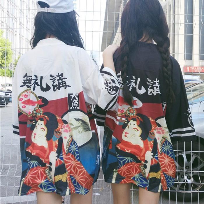 潮流衣閣日式和服 女裝中長款寬松 七分袖防曬衣薄款外套開衫學生潮夏防曬外套防風外套休閒外套