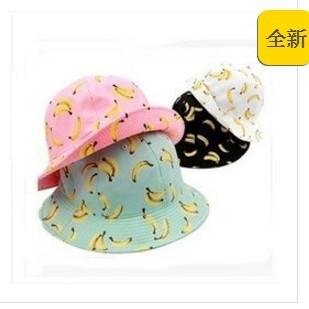 妍妍 甜美可愛水果香蕉圖案漁夫帽出遊潮女盆帽太陽遮陽帽 149