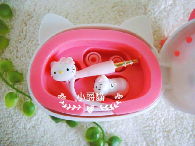 限定✨三麗鷗正品Hello Kitty 凱蒂貓大頭 收納盒附內塞式耳機粉紅蝴蝶結捲線器收納
