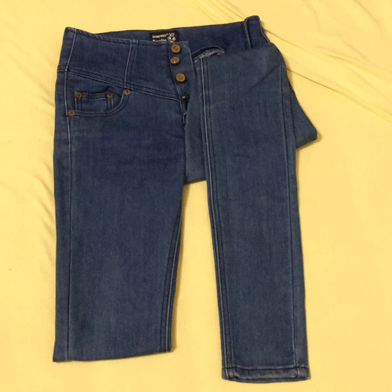 高腰單寧褲