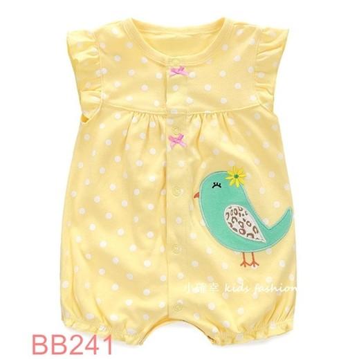 小確幸衣童館BB241 款純棉黃色點點花朵小鳥刺繡平口包屁衣