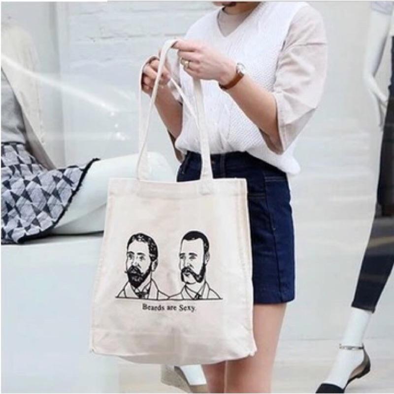 韓國官網正品訂做ulzzang 休閒復古人物頭像側背包帆布包