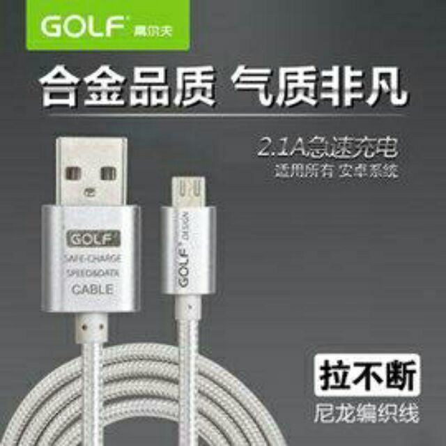 GOLF 金屬合金編織尼龍繩安卓 充電線102 公分玫瑰金金色銀色micro USB 數據