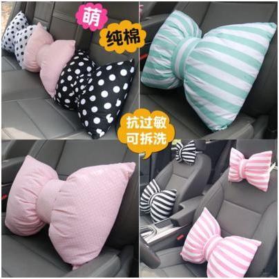蝴蝶結汽車頭枕蝴蝶結 卡通車內裝飾品可愛車用護頸枕靠枕車飾抱枕蝴蝶結抱枕