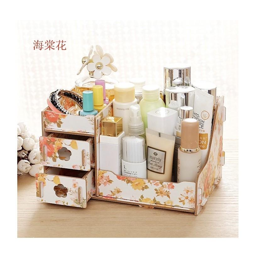 大號215 韓式木質DIY 化妝品收納盒DIY 木質萬用收納盒桌面收納盒貓咪木質收納架 木