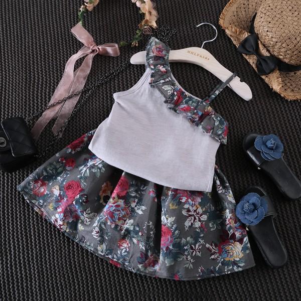 ~女童707 ~復古花層層木耳斜邊吊帶衫短裙套裝