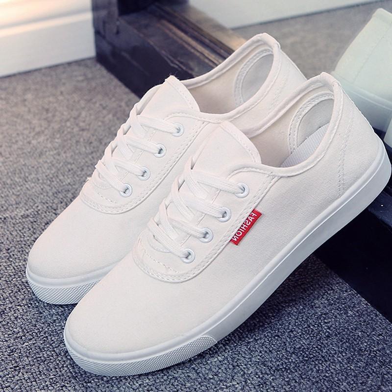 帆布鞋 平底休閒女鞋小白鞋女白色板鞋繫帶學生布鞋潮