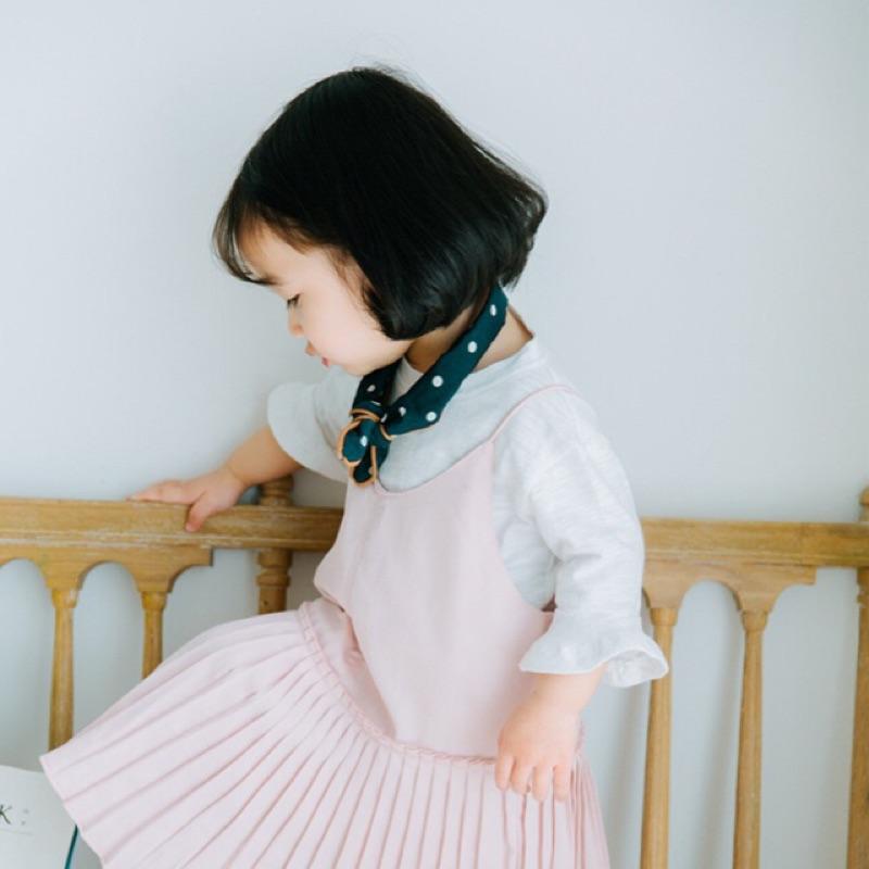 蓁誠 女童女寶兒童寶寶小童甜美復古花邊荷葉袖喇叭袖五分袖圓領上衣娃娃衫內搭